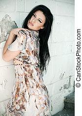 brunett, skönhet, framställ