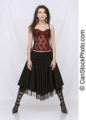 brunett, tröttsam, spansk, klänning