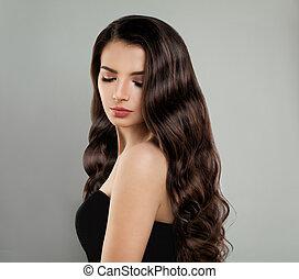 brunetta, beauty., lungo, moda, capelli, carino, ritratto, modello, ragazza
