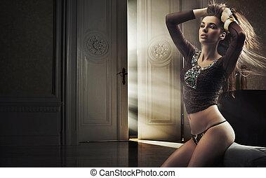 brunetta, bellezza, foto, giovane, tipo, sensuale
