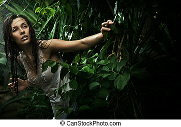 brunetta, bellezza, giovane, foresta pioggia, sexy
