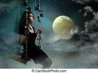 brunetta, cielo, oscillazione, bellezza, notte