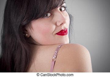 brunetta, donna, biancheria intima, sexy