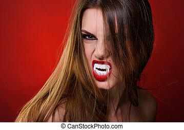 brunetta, donna, sopra, style., fondo, ritratto, rosso, vampiro, signora
