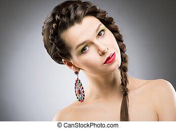 brunetta, earring., colorito, gioielleria, bijouterie, -, ...