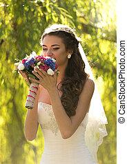 brunetta, elegante, mazzolino, matrimonio, sposa, odorando, ritratto
