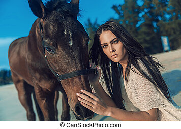 brunetta, giovane, proposta, con, uno, stallone