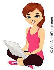 brunetta, laptop, giovane, computer, usando, ragazza