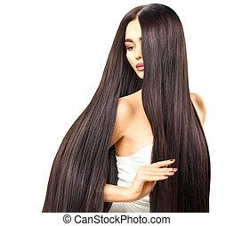 brunetta, lei, diritto, liscio, capelli lunghi, toccante, sexy, modello, baluginante, ragazza
