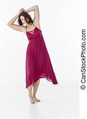 brunetta, modello, ballo