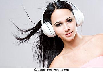 brunetta, musica, lover., splendido