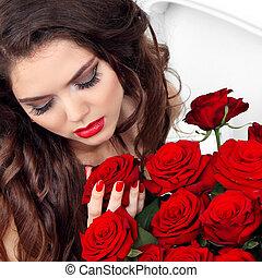 brunetta, nails., makeup., labbra, closeup, manicured, ritratto, ragazza, rosso