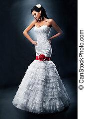brunetta, nuziale, lussuoso, sposa, moda, vestito bianco, modello
