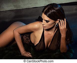 brunetta, posing., donna, elegante, sexy