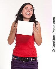 brunetta, presa a terra, ridere, scatola, bianco