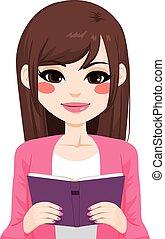 brunetta, ragazza asiatica, lettura