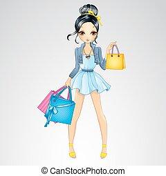 brunetta, ragazza, fare, shopping