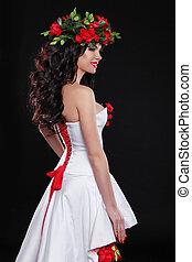 brunetta, ragazza, ghirlanda, girl., bellezza, fiori, hair., head., modello, woman., marrone, hairstyle., sano, lungo, bello