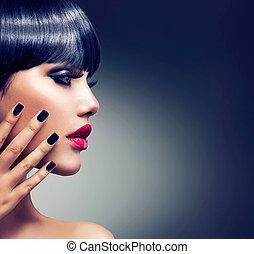 brunetta, ragazza, sensuale, makeup., portrait., labbra, ...