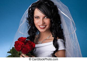 brunetta, rosso, sposa, rose