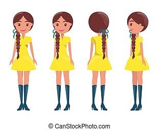 brunetta, sguardo, moderno, ragazze, elegante, ragazza, intrecciato