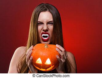 brunetta, sopra, halloween, vampiro, pumpkin., donna, fondo, ritratto, signora, rosso