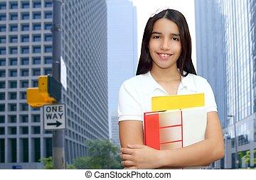 brunetta, studente, giovane ragazza, adolescente, latino, presa a terra, libri