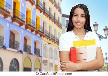 brunette, étudiant, jeune fille, adolescent, latin, tenue, livres