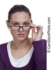 brunette, aanpassen, haar, bril