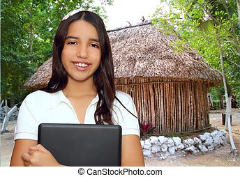 brunette, adolescent, étudiant, indien, latin, tenue, ordinateur portable