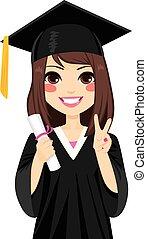 brunette, afgestudeerd, meisje