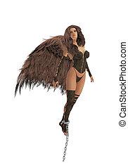 Brunette Angel - Brunette angel fleeing from broken chains