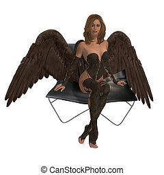 Brunette Angel Sitting On A Chair