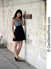 Brunette at a Block Wall (3)