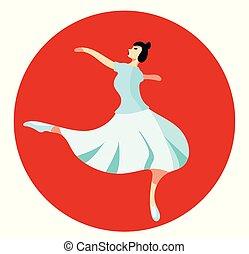 Brunette ballerina in white