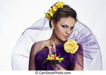 Brunette beautiful woman with flowers