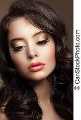 brunette, beauty., maquillage, jeune, lustré, pur, portrait