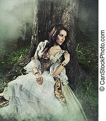 brunette, beauty, ouderwets, bos, prachtig, jurkje