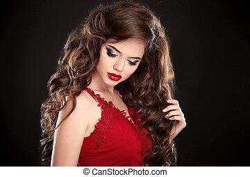 brunette., beleza, makeup., longo, hair., cacheados, hairstyle., mulher bonita, com, ondulado, saudável, cabelo, e, lábios vermelhos, maquilagem, isolado, ligado, estúdio, pretas, experiência.