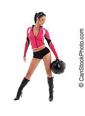 brunette biker girl with black helmet - sporty brunette...