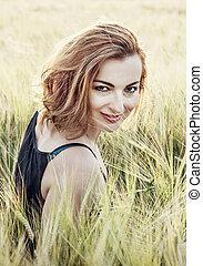 brunette, blé, beauté, nature, jeune, poser, champ, sourire