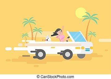 brunette, blanc, conduit, illustration, girl, cabriolet, heureux