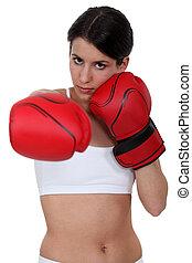 Brunette boxing