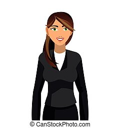 brunette business woman icon