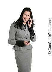 Brunette businesswoman talling mobile phone