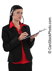 Brunette call-center worker
