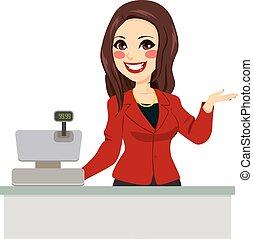 Brunette Cashier Seller