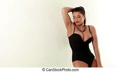 brunette, chaud, appareil photo, en mouvement, sexuellement, vue