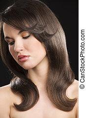 brunette, coiffure