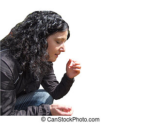 Brunette coughing - Pretty young brunette girl sneezing and...